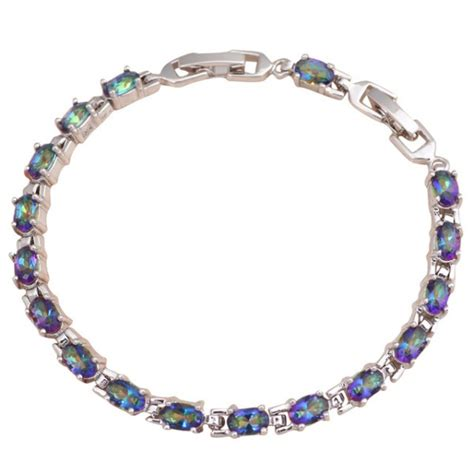 Mystic Topaz 5 5 Ct 18k w gold ep 5 ct mystic topaz link bracelet ebay