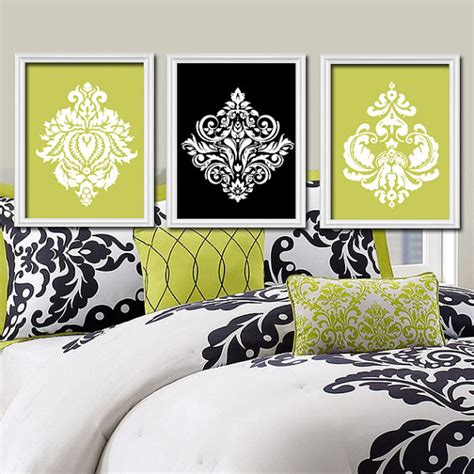 lime green black wall bedroom pictures canvas or by