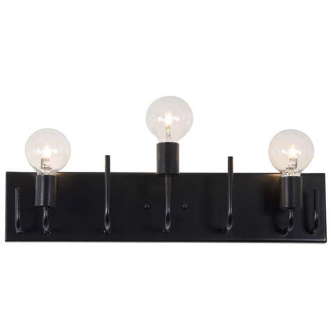 black vanity lighting bathroom lighting the home depot varaluz socket to me 3 light black vanity light 219b03bl the home depot