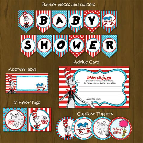 Dr Seuss Baby Shower Theme by Dr Seuss Printable Baby Shower Package Cat In A Hat Baby