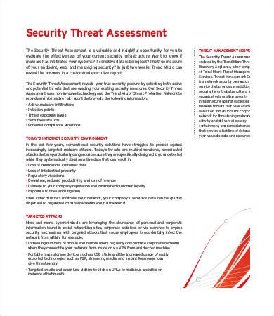 threat assessment template threat assessment templates 9 free word pdf documents