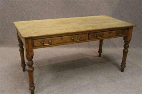 Farmhouse Kitchen Table With Drawers Pine Farmhouse Table With Two Drawers Antiques Atlas