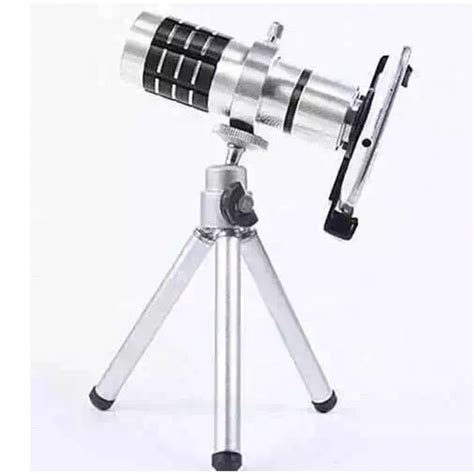 Original Pickogen Universal Lens 12x Zoom Telescope Lensa Clip Jepit universal 12x zoom optical telescope telephoto lens for samsung note 3 s5 s6 s7 iphone 4