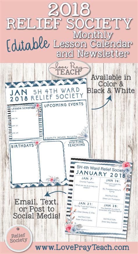 January 2018 Relief Society Newsletter And Lesson Calendar Relief Society Newsletter Template Free