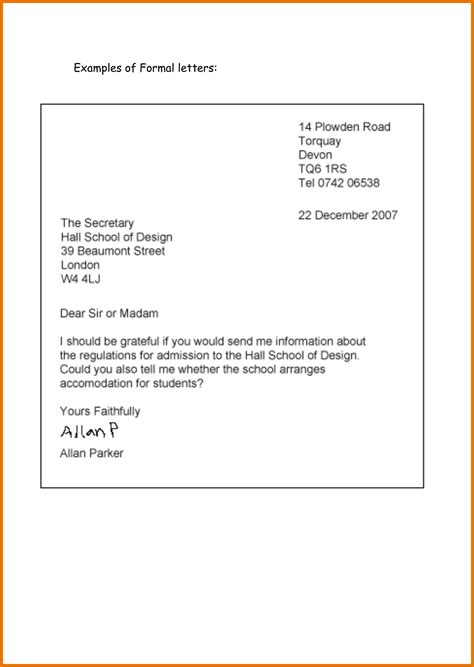 formal letter for school formal letter template