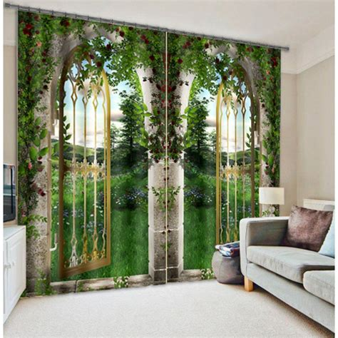 3d curtains fantasy iron gate 3d photo printing blackout window