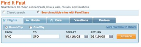 yahoo travel chases kayak with farechase techcrunch