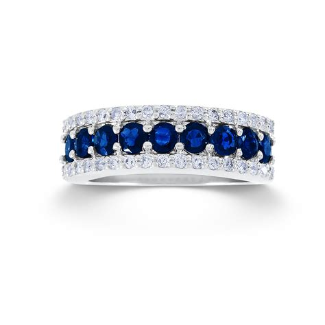 Wedding Bands With Sapphires And Diamonds by 1 3 Cttw 10k White Gold Sapphire Wedding Band