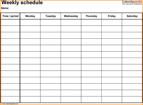 Free Example Of A Resume by 3 Copy Of Blank Work Schedule Lease Template