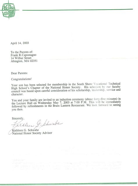 Letters And Society National Honor Society Recommendation Letter Best Template Collection