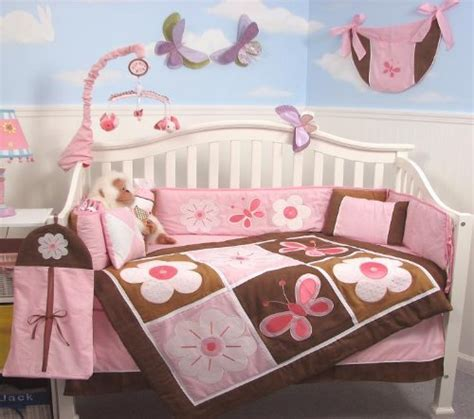 Soho Pink And Brown Floral Garden Baby Crib Nursery Pink And Brown Bedding