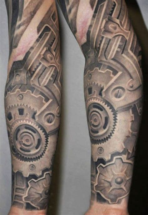 mechanical tattoo sleeve designs zahnr 228 der biomechnik arm 机械 ta t