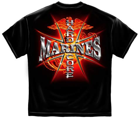 marine core hair cut shirt marines hard core t shirt flaming usmc logo army military