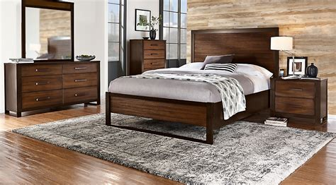 abbott hazelnut  pc queen panel bedroom queen bedroom sets dark wood