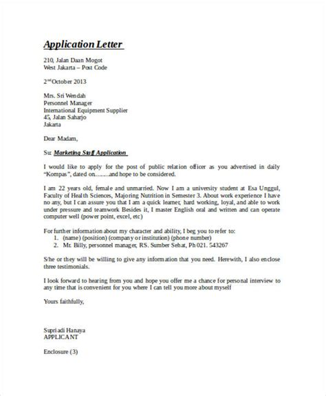 Application Letter Exle Doc Application Letter Advertising Agency 28 Images 5 Exle Of Application Letter Of Any Vacant