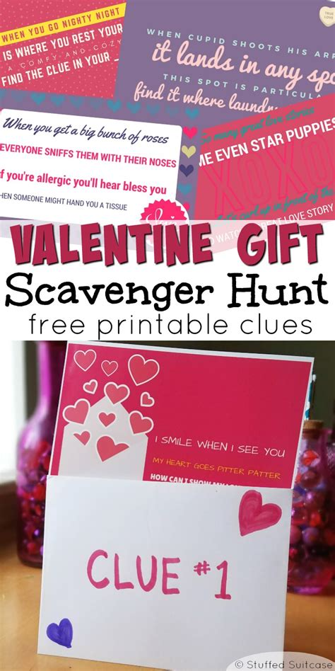 valentines scavenger hunt free printable clues for gift
