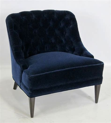 blue velvet armchair pair of navy blue velvet tufted back lounge chairs at 1stdibs
