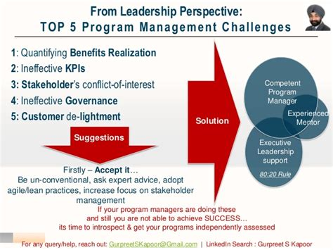 top 5 program management challenges from leadership