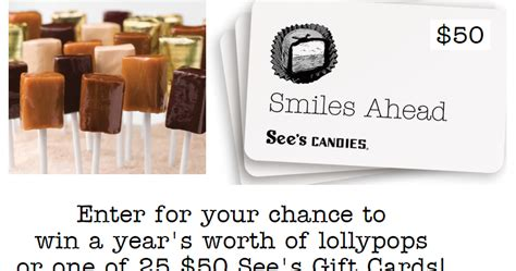 Sees Candy Gift Card - 50 see s candies gift card giveaway 25 winners grand prize see s lollypops for a