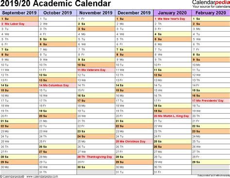 Academic Calendars 2019 2020 Free Printable Excel Templates 2019 Planner Template