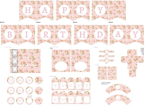 shabby chic birthday pack magical printable