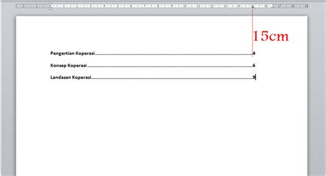 cara membuat titik titik pada daftar isi menggunakan tab membuat garis titik titik pada daftar isi dokumen word