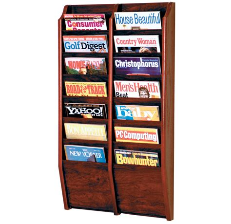Magazine Wall Racks by Wall Magazine Rack Oak 14 Pocket In Wall Magazine Racks