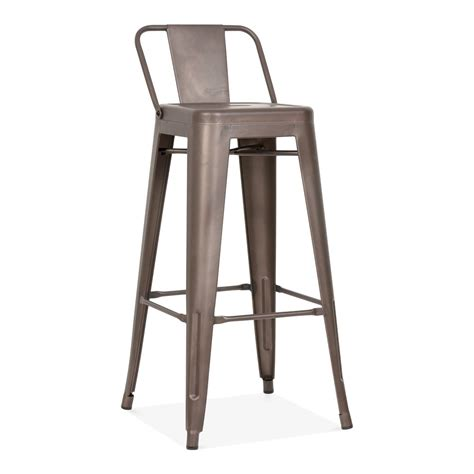 Metal Bar Stool With Back Tolix Style Metal Bar Stool With Low Back Rest Rustic 75cm Cult Uk