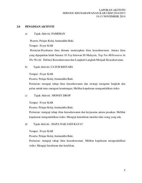 format laporan jualan laporan aktiviti minggu keusahawanan 1 1