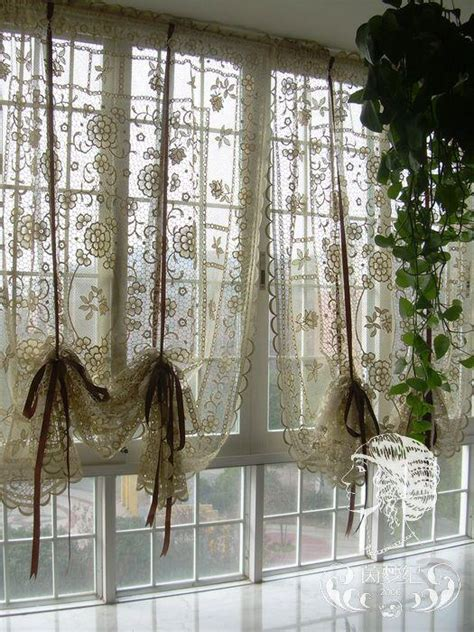 country cafe curtains french country hand crochet lace balloon shade sheer cafe