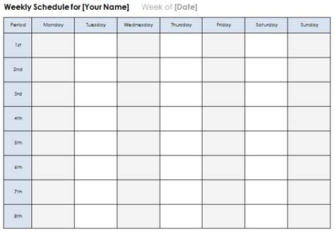 weekly calendar templates plan daily  weekly tasks
