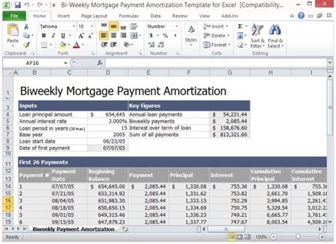 bi weekly mortgage calculator extra payment bi weekly mortgage payment amortization template for excel