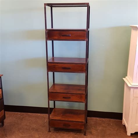 Wood Bookcase With Drawers by Iron And Wood Bookcase With Four Drawers Nadeau