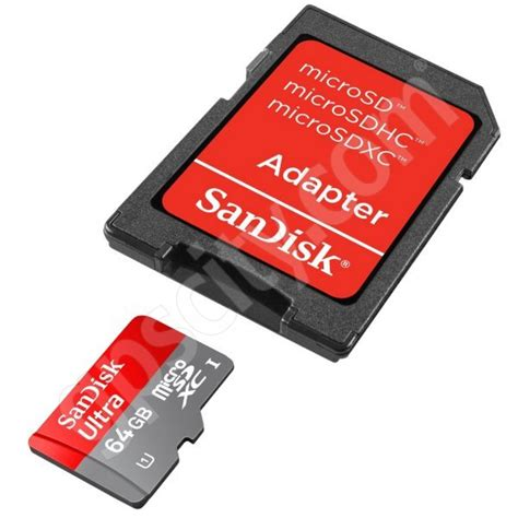 Adaptor Sandisk sandisk 64gb microsd data card with sd adapter