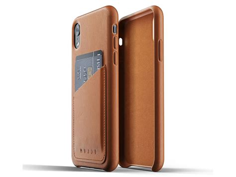mujjo leather wallet iphone xr hoesje