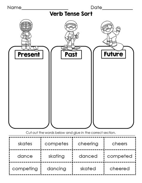 printable games for verb tenses winter language arts morning work for january nouns verb