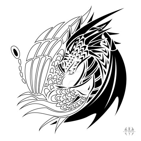 tattoo design yin yang dragon phoenix by h brid on deviantart