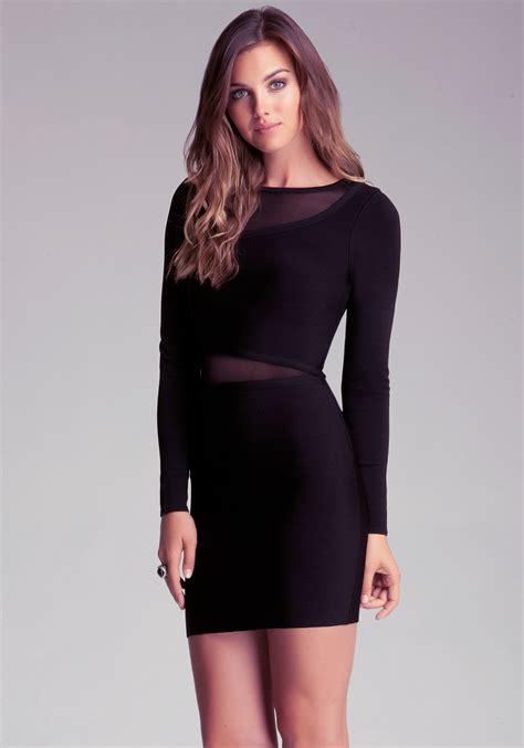 bebe sheer inset dress in black lyst