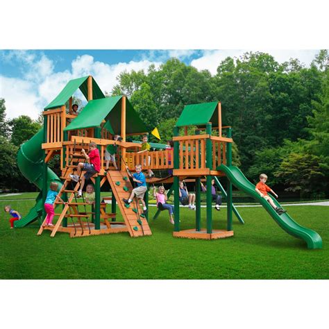 timber swing set treasure trove swing set w timber shield and deluxe green