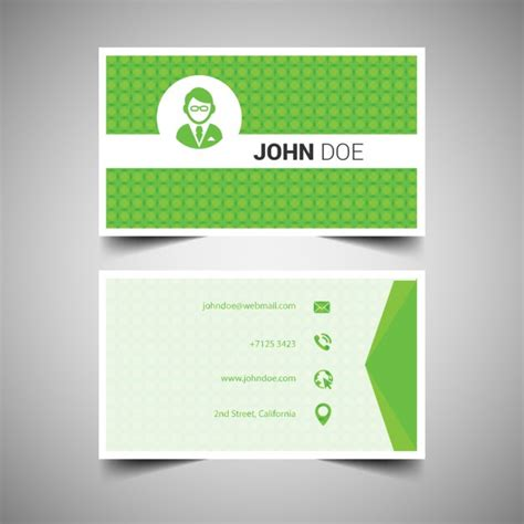 green card template green geometrical business card template free vectors