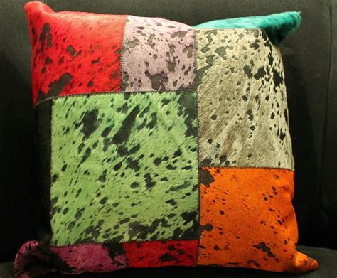 my pillow color codes multi color patchwork cow hide pillow 18 quot x18 quot mh27100