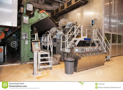 Paper Pulp Machine - paper and pulp mill fourdrinier machine stock photo