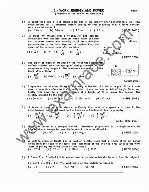 Physics Work Energy Power MCQ- Translation in Hindi