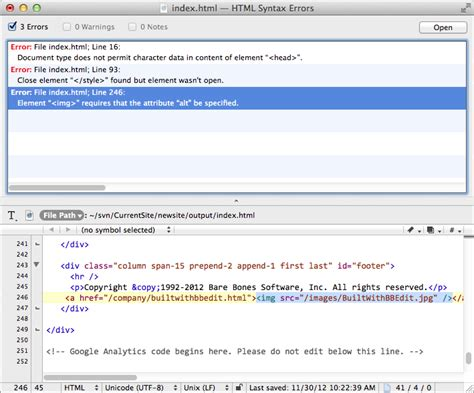 html template syntax bare bones software bbedit product tour