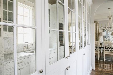 Antiqued Mirrored Pantry Cabinets Transitional Kitchen Mirrored Kitchen Cabinet Doors