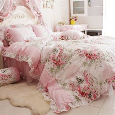 pink floral bedding fadfay home textile pink rose floral print duvet cover bedding set for girls 4 p ebay