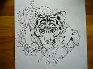 tiger and elemental pisces tat by shadowkira on deviantart