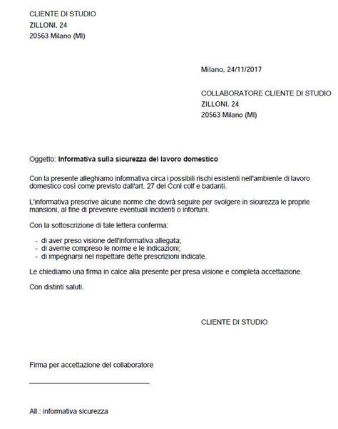 dichiarazione datore di lavoro per rinnovo permesso di soggiorno lettera informativa sulla sicurezza di colf badanti e baby