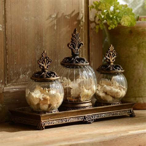 product details gold filigree glass jar set