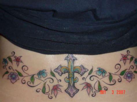 fleur de lis cross tattoo fleur de lis cross on lower back